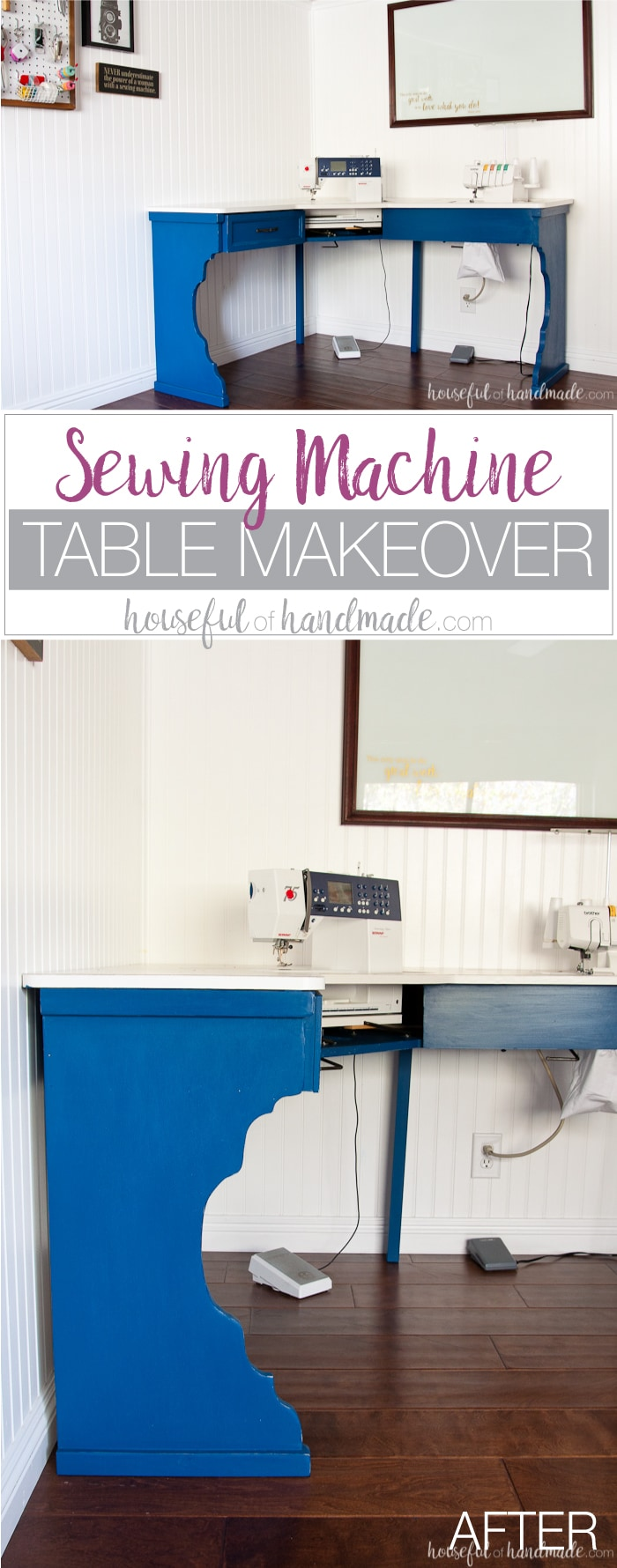 Transform an old utilitarian table into a beautiful farmhouse craft table with this sewing machine table makeover. The beautiful table legs were created on a budget to transform the basic table into a piece of furniture with lots of style. Housefulofhandmade.com | Furniture Makeover | Chalk Paint Makeover | Farmhouse Table Legs | Sewing Desk | $100 Room Challenge
