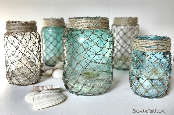 Ways to Upcycle Glass Jars & Bottles: Upcycle jars wrapped with fisherman netting from Stow and Tell.