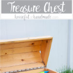 Build the perfect outdoor toy storage. This DIY treasure chest toy box is big enough to store lots of toys and looks awesome. Free build plans from Housefulofhandmade.com | Silhouette Creator's Challenge | Woodworking Plans | Pirate Treasure Chest | How to Build a Treasure Chest | Outdoor Storage Ideas | Toy Storage Ideas
