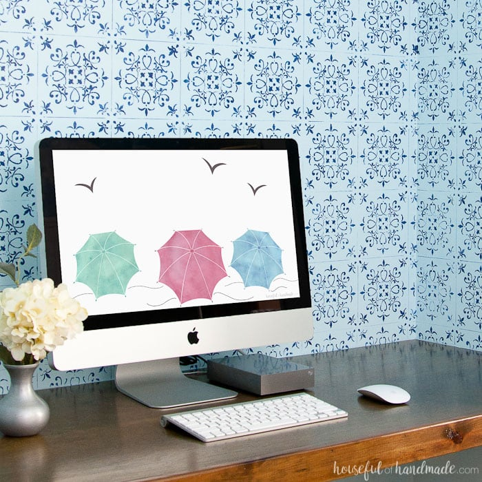Celebrate summer on your iPhone and computer! Download these free digital backgrounds for June. The sweet vintage seashore umbrellas come with or without a calendar for the perfect reminder of summer. Housefulofhandmade.com | Digital Wallpaper | Summer Phone Background | Beach House Decor | Digital Art