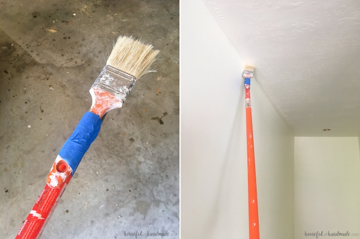 It's amazing what a fresh coat of paint can do to a room. But if you have high ceilings it can be a huge task to paint. Learn how to paint tall walls the easy way. Housefulofhandmade.com | HomeRight EZ Twist PaintStick | How to Paint High Walls | How to Paint a Stairway | Stairway Refresh | Painting Tips