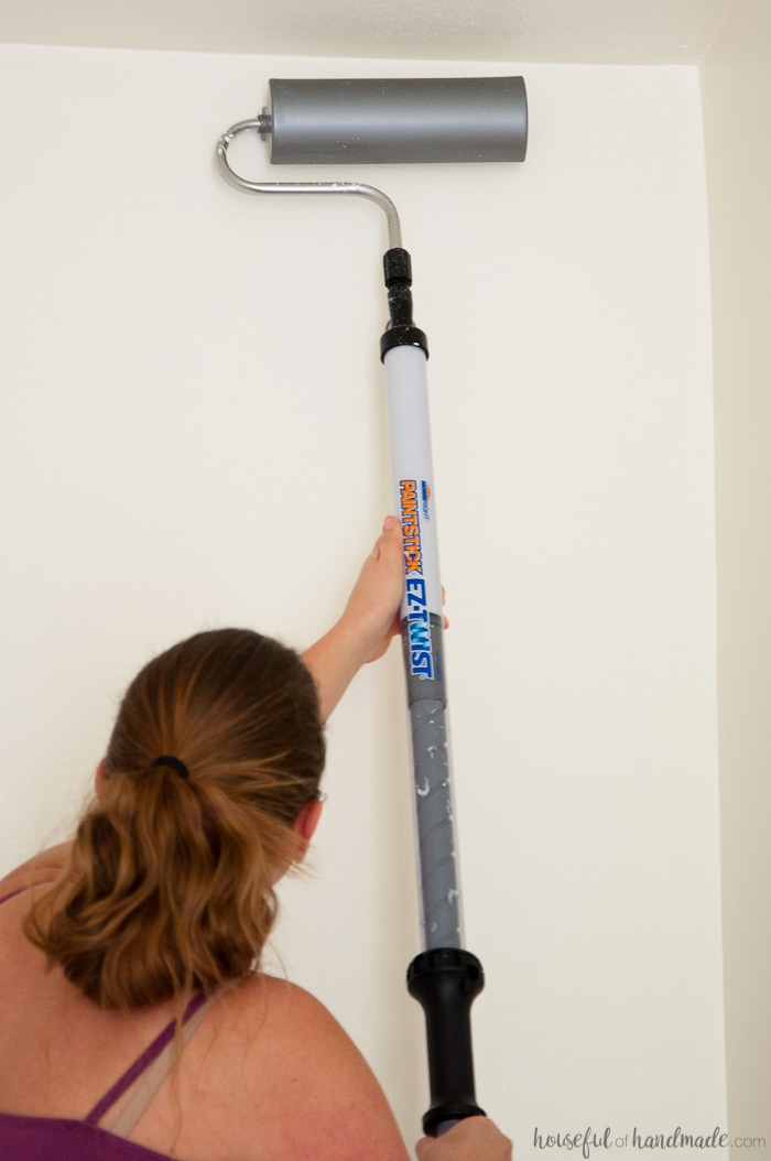 EZ-Twist paint roller being used on high ceiling