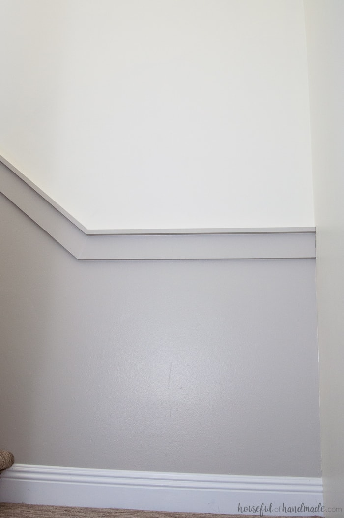 freshly painted walls in gray paint with white trim