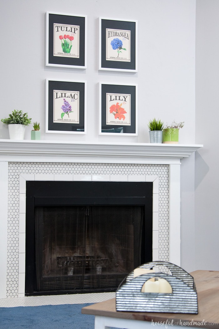 Fire place mantel with finished Agreeable Gray by Sherwin Willams