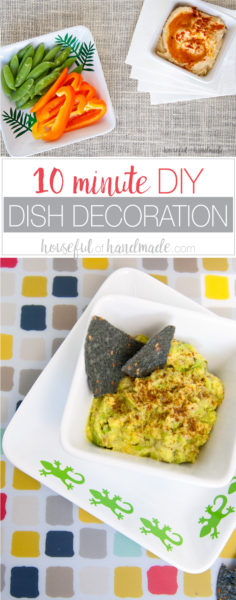 Turn boring white dishes into fun festive dishes with this 10 minute DIY dish decoration hack. Create fun dishes for summer barbecues or any event or season. Your new decorative dishes will be ready in no time so you can get to entertaining your friends. Housefulofhandmade.com | How to Make Decorative Trays | DIY Serving Dishes Decor | Decorative Dishes DIY | Spellbinders Crafts | Easy Entertaining Ideas | 10 minute crafts | Entertaining Hacks