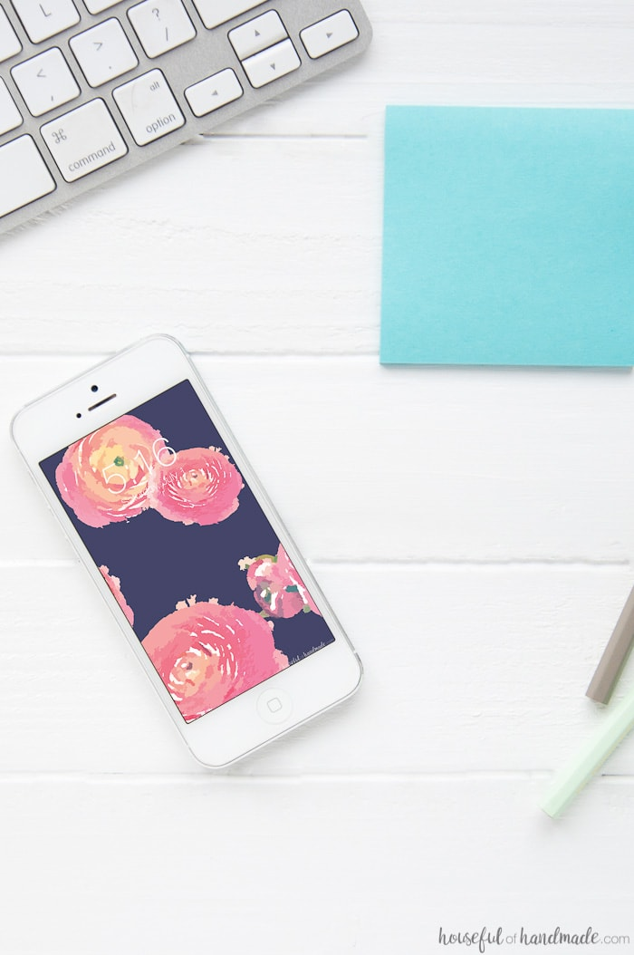 A beautiful summer floral of navy and blush ranunculus is the perfect way to decorate you phone and computer. Download these free digital backgrounds for July. Includes an option with or without a calendar to help keep you organized this summer. Housefulofhandmade.com | Free iPhone Wallpaper | Computer Wallpaper | Digital Prints | Watercolor Ranunculus Pattern