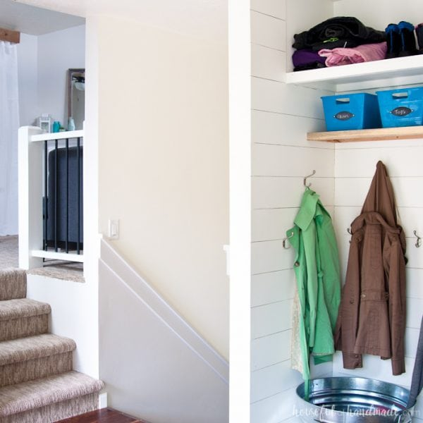 Take a peak into the houses of your favorite bloggers this summer. Each week we will be sharing different rooms in our home. This week is all about the entryway. See how we have our Farmhouse Entryway mudroom decorated and ready for summer. Housefulofhandmade.com | Summer Home Tour | Small Entry Decor | Small Mudroom Ideas | Entryway Mudroom Ideas | Mudroom Storage | DIY Shiplap Entry | Room by Room Summer Series