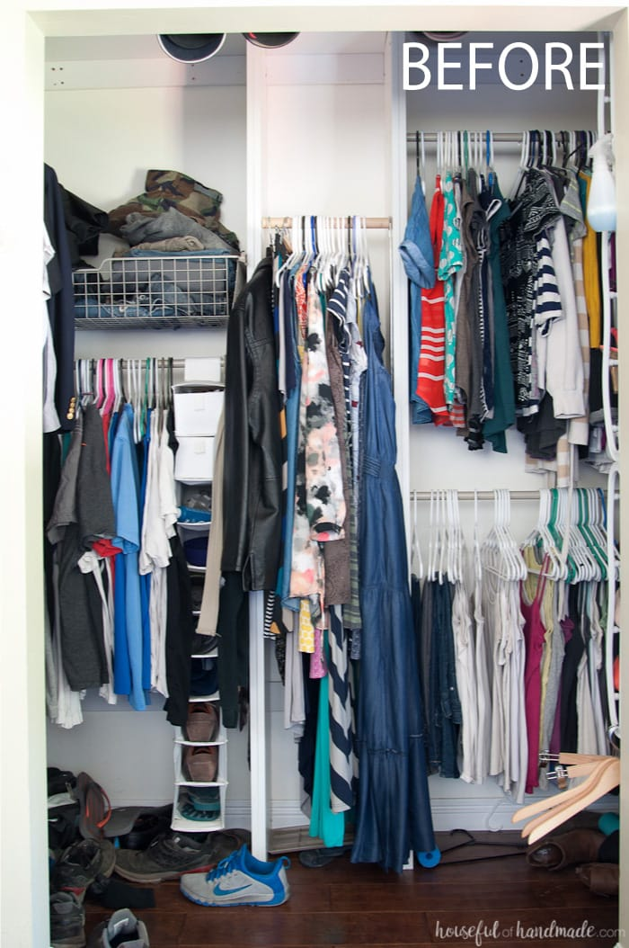 Transform your walk in closet into a beautiful and functional room on a budget. See how we were able to turn our crowded closet into an open dressing area with lots of storage and style. Housefulofhandmade.com