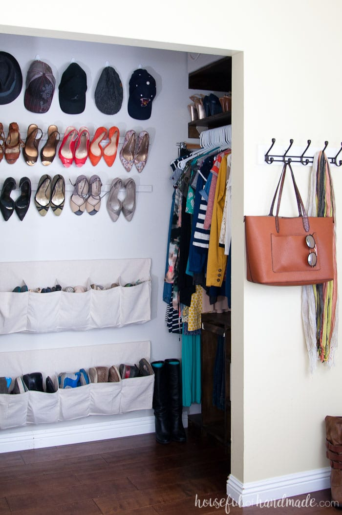 Sometimes looking outside the box will completely transform a space. We love all the space in our walk in closet now that we have a non-traditional floor plan. Housefulofhandmade.com