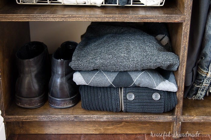 Did you know you are not suppose to hang your sweaters? See how we protect all our favorite clothing in our budget walk in closet remodel. Housefulofhandmade.com