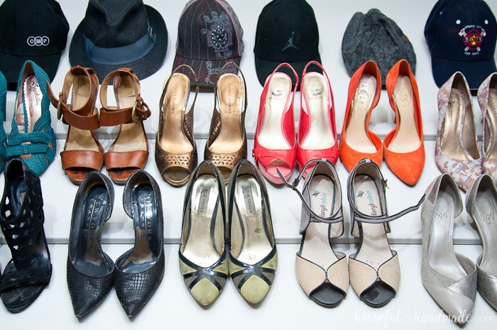 The best $1 shoe storage solution ever! See how we transformed our tiny walk in closet into a dream closet for only $100. Housefulofhandmade.com