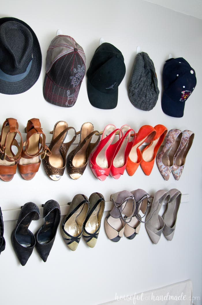See how we solved our closet storage problems on a budget. Our walk in closet now has storage for hats, shoes, bags and more! Housefulofhandmade.com