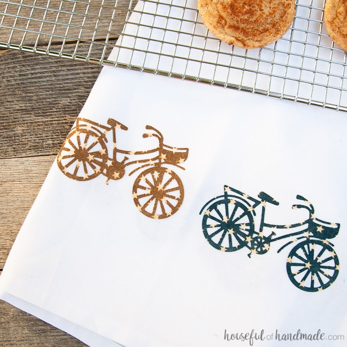 Create beautiful dish towels for all the summer kitchen fun. Make this decorative summer tea towel DIY for gifts or to add some farmhouse charm to you own kitchen. Housefulofhandmade.com | How to Die Cut Fabric | Decorative Tea Towels | Homemade Gift Ideas | Farmhouse Crafts | Kitchen Decor | Spellbinders Crafts