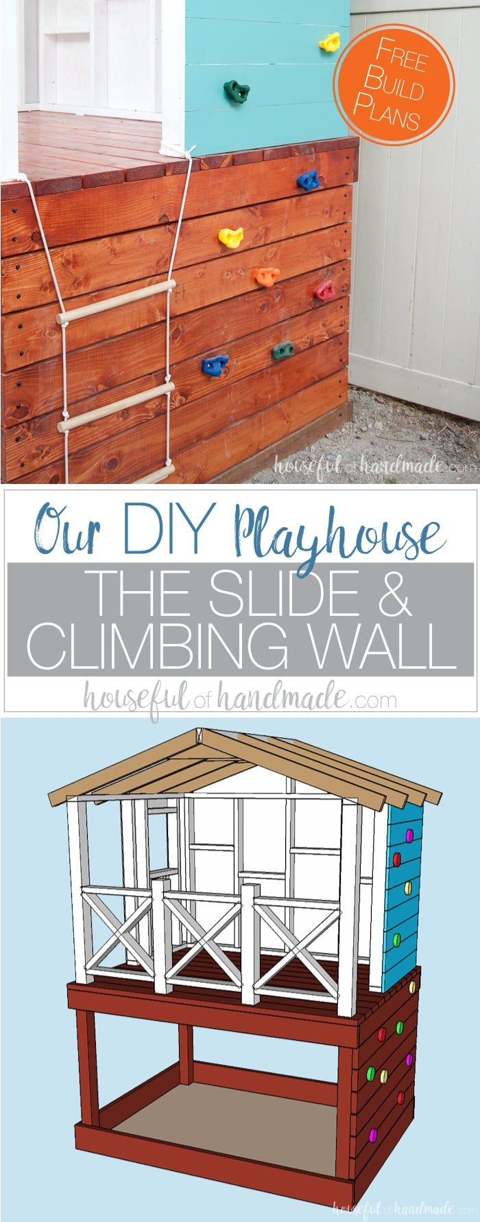 diy-playhouse-slide-climbing-wall-pinnable Cheap And Easy To Build Playhouse Plans on cheap easy bookshelf plans, easy chicken coop plans, cheap easy tree house plans, free&easy cabin plans, cheap playhouse ideas,