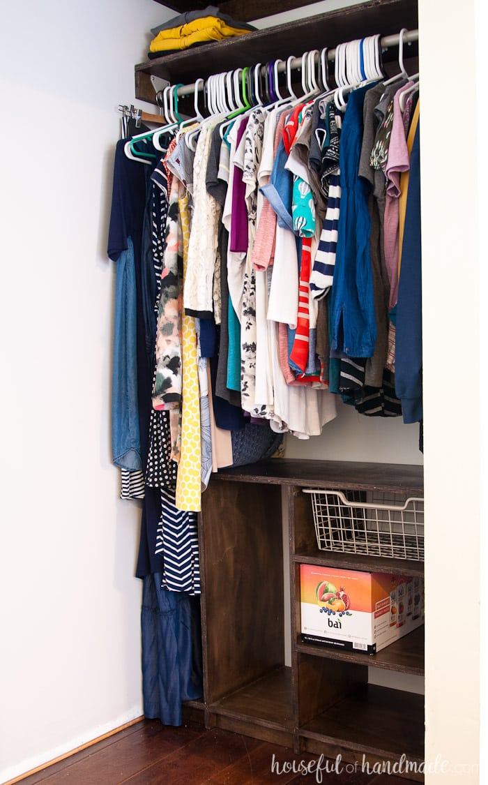 Create custom closet organization on a budget with the DIY plywood closet organizer build plans. See how we are remodeling our master closet for only $100 but not sacrificing on style or storage. Housefulofhandmade.com | How to Build a Closet Organizer | Custom Closet | Closet Storage Ideas | Clothing Storage Ideas | Plywood Build Plans | Closet Build Plans