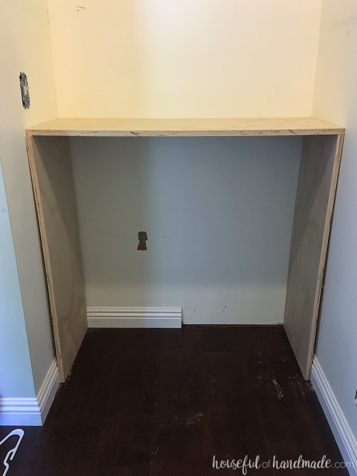 Cut pieces of the closet organizer dry fit into the closet before assembling.