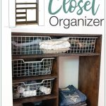 His side of the DIY closet organizer next to a 3D SketchUp model of the build plans and text overlay: DIY Plywood Closet Organizer
