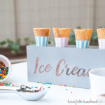 Celebrate summer with this easy DIY entertaining idea you can make with your Silhouette Cameo. This farmhouse ice cream cone holder DIY is perfect for having an ice cream cone bar in the warm summer evenings. Or just use it to give yourself a second hand when filling cones for all the kids. Tutorial and free Silhouette cut file on Housefulofhandmade.com