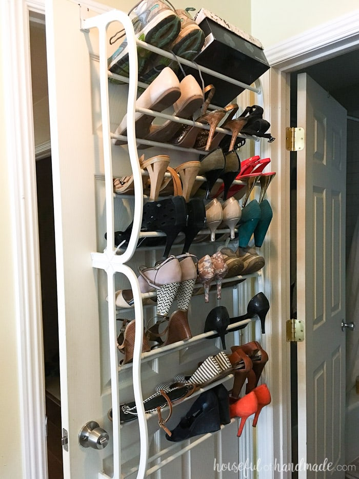 It's week 2 of the $100 Room Challenge. This week we demoed the old closet and got creative with ways to store all those clothes until the closet is done. See the progress at Housefulofhandmade.com | Closet Remodel | Closet Demo | Clothing Storage Ideas