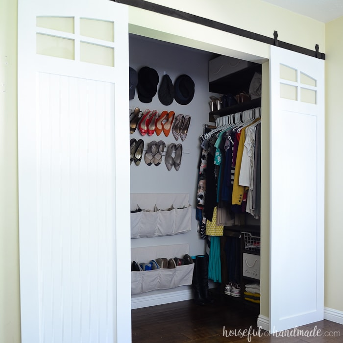 These inexpensive DIY sliding barn doors are perfect for adding style to your bedroom. Update your old closet doors with these instead! Housefulofhandmade.com