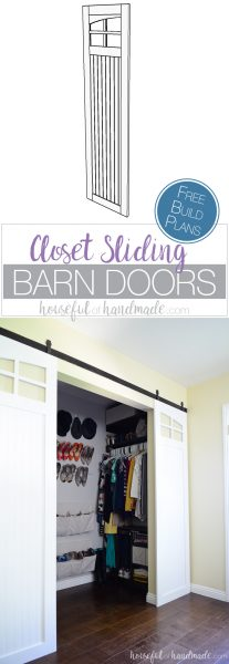 Update your old bifold or mirrored closet doors with these sliding barn doors. The curved windows are my favorite part of these DIY farmhouse barn doors. Get the free build plans from Housefulofhandmade.com