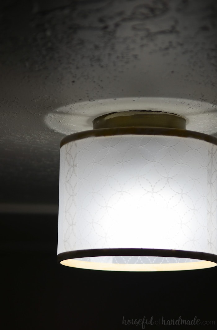 The texture on this drum shade is just gorgeous. I love everything about this DIY drum ceiling light and it was so easy! Housefulofhandmade.com