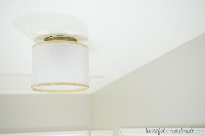 Create a show piece for your hallway with this drum ceiling light fixture DIY. Housefulofhandmade.com