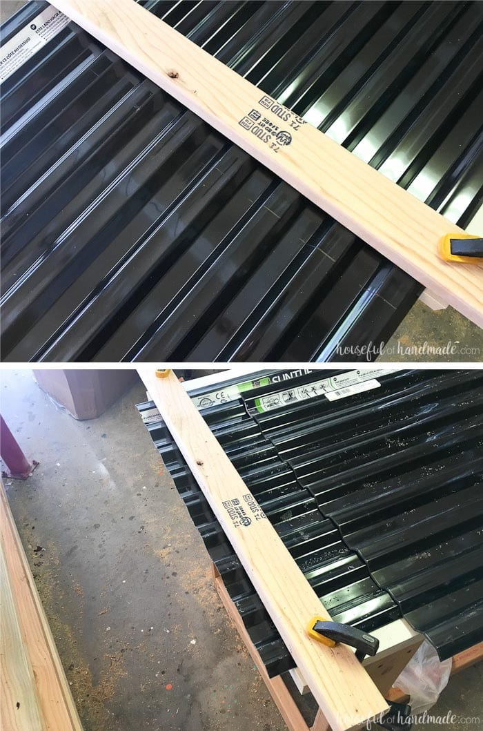 Cutting the corrugated roofing panels was super easy. See the entire DIY playhouse build at Housefulofhandmade.com