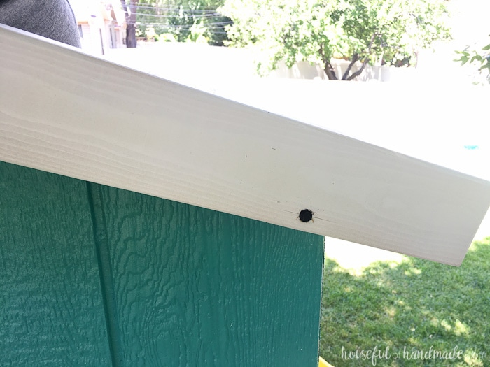 A simple peaked roof is perfect for our DIY playhouse. Housefulofhandmade.com