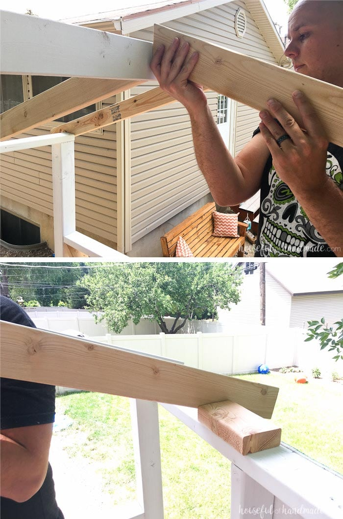 This is a great tip for easy to notch out roof rafters. See the whole DIY playhouse build at Housefulofhandmade.com