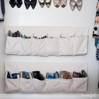 Drop Cloth Hanging Shoe Storage