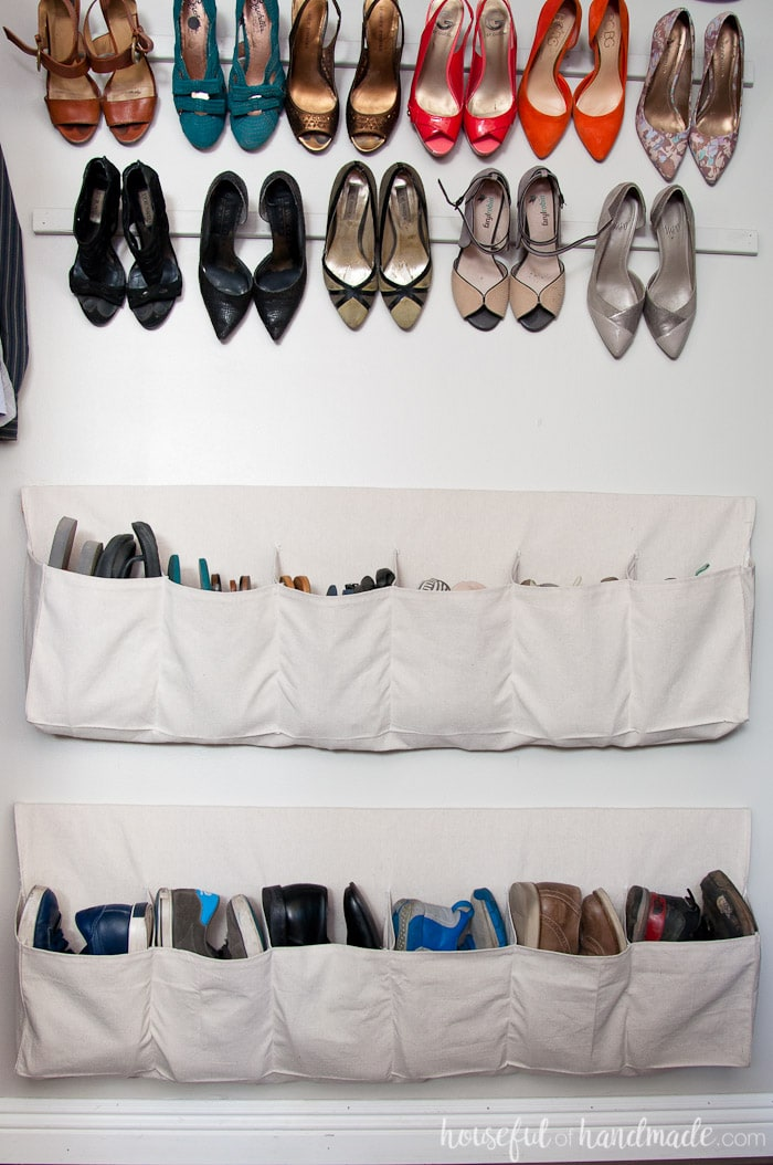Create your dream closet with these drop cloth hanging shoe storage tutorials. I love the way the shoes are used as decor for the closet makeover. Housefulofhandmade.com