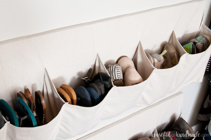Love these shoe storage ideas! Create hanging shoe storage to keep your closet clean and organized. Housefulofhandmade.com