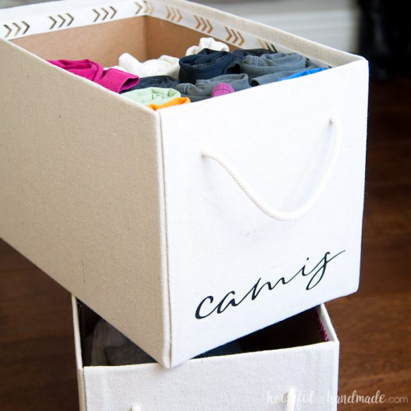 Get organized this year with these easy drop cloth storage boxes. Perfect DIY storage ideas from Housefulofhandmade.com