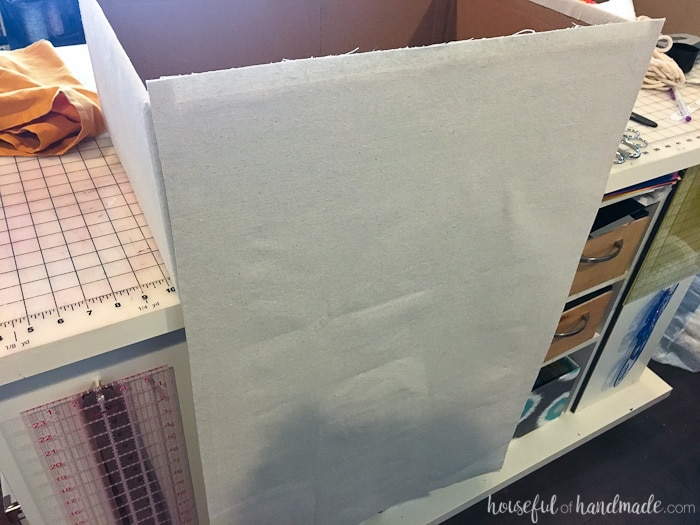 You are going to want to do this to all your boxes. Drop cloth storage boxes from Housefulofhandmade.com
