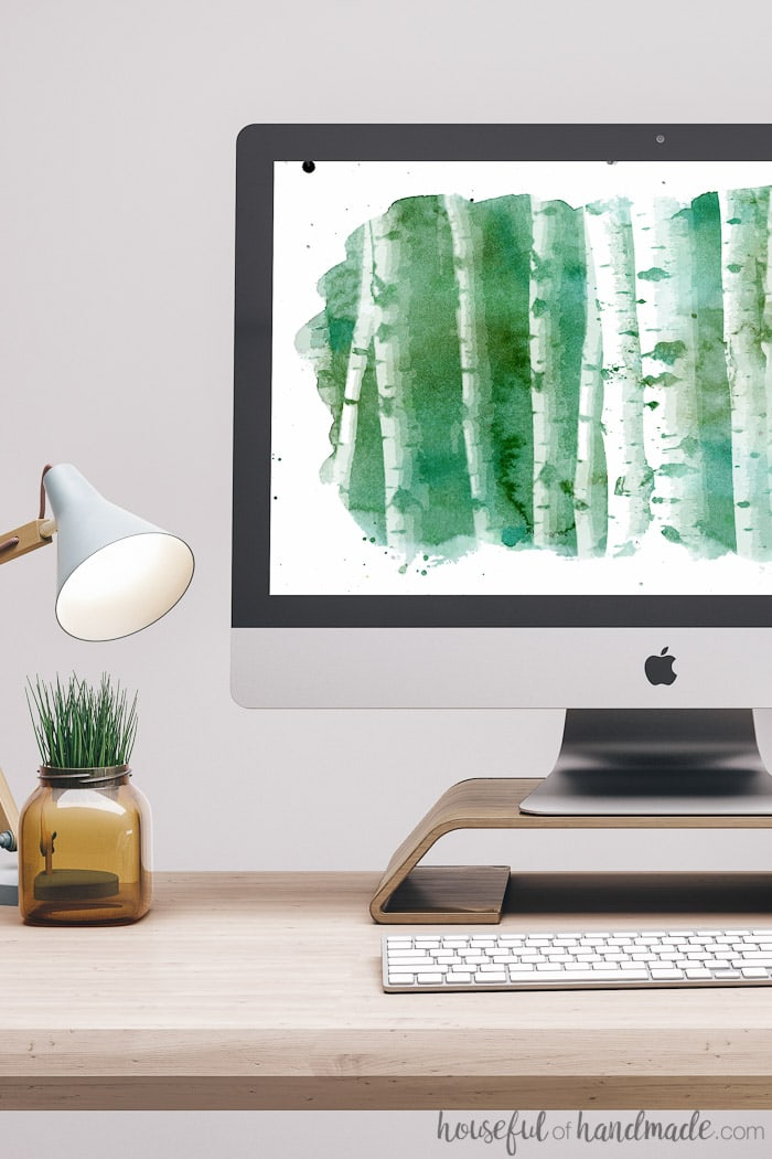 Download free digital backgrounds for September for your smartphone and desktop. The beautiful watercolor aspen print is the perfect way to welcome fall. Housefulofhandmade.com