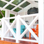 Build an outdoor playhouse in the backyard with the free build plans from Housefulofhandmade.com