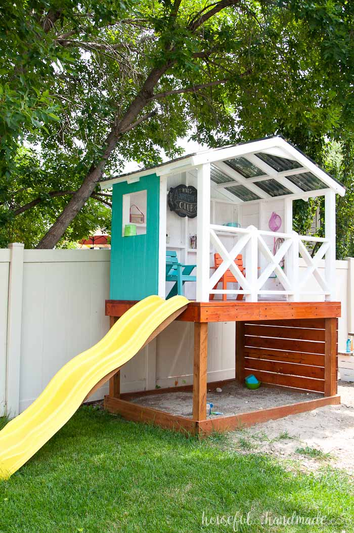 how to build an outdoor playhouse for kids a houseful of handmade. Black Bedroom Furniture Sets. Home Design Ideas