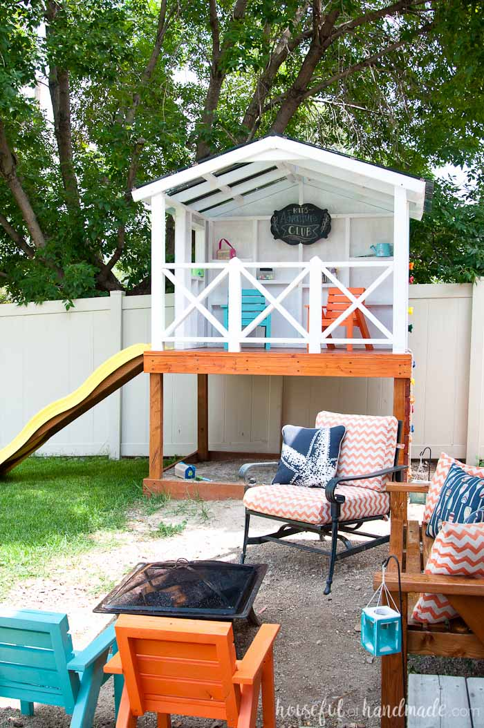 Even though we have a small yard, we were able o build an outdoor playhouse - How To Build An Outdoor Playhouse For Kids - Houseful Of Handmade