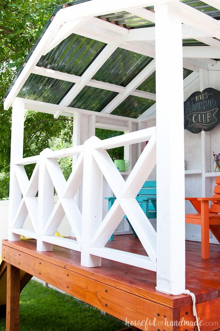 Learn how to build a DIY playhouse. This week we have all the details for how to roof the outdoor playhouse. Housefulofhandmade.com