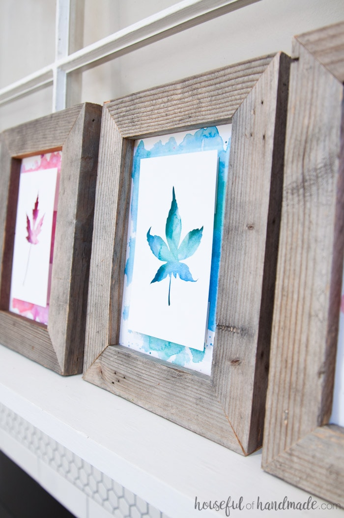 Create beautiful rustic fall decor with this easy DIY. Reclaimed wood picture frames highlight watercolor leaf art for easy rustic fall decor you can have ready in minutes. Housefulofhandmade.com