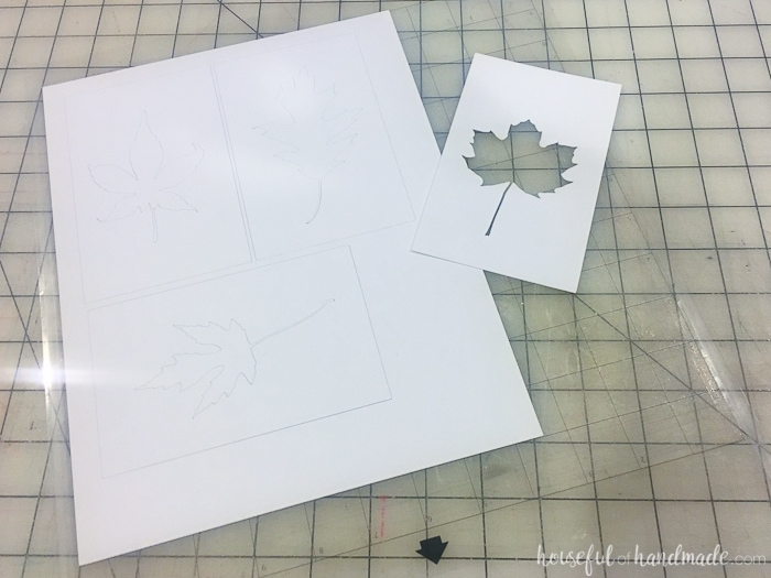 Use the Silhouette Cameo to create easy rustic fall decor. This watercolor leaf art is perfect for a fall mantel. Housefulofhandmade.com