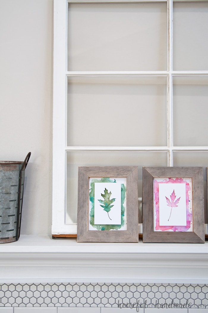 Reclaimed wood is my favorite way to add rustic fall decor to our home. Fill the frames with beautiful watercolor leaf art and you are ready for pumpkin season. Housefulofhandmade.com