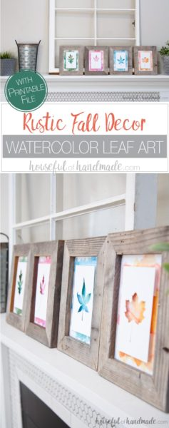 Create beautiful non-traditional decorations for fall. I love these watercolor leaf prints. It's the perfect easy rustic fall decor. Housefulofhandmade.com