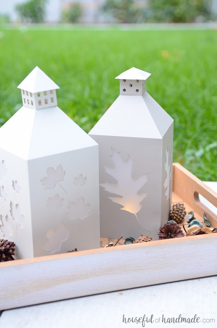 Instant fall decor for your home! Whip up these DIY candle lanterns out of paper today. Housefulofhandmade.com