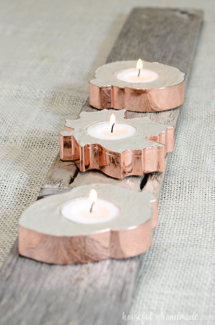 Create the perfect fall tablescape with these beautiful copper candle holders. They are so easy to make you will be ready to entertain in no time. Housefulofhandmade.com