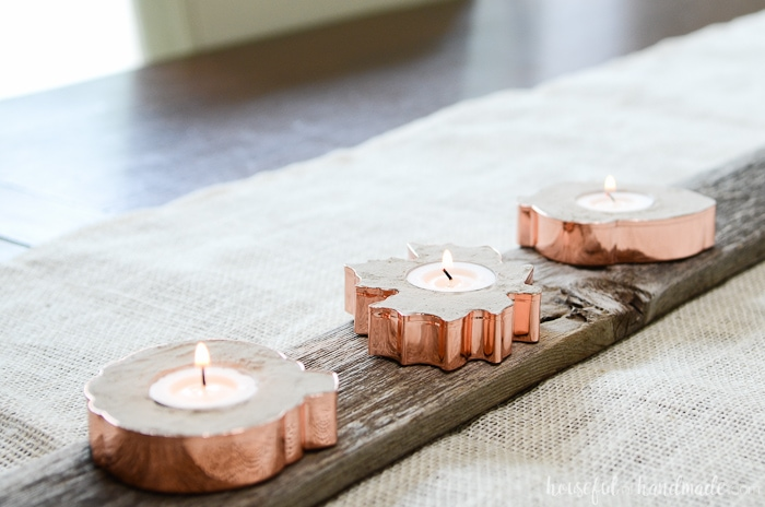Add sparkle to your rustic fall decor with these easy copper candle holders. They are made out of concrete and hold tea lights for the perfect bit of warmth this fall. Housefulofhandmade.com
