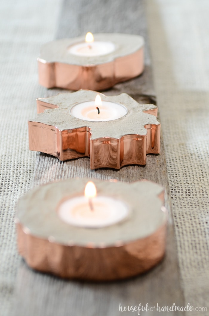 Make these easy copper candle holders for fall to add a bit of glamor to your home decor. Concrete and copper make a beautiful statement for autumn. Housefulofhandmade.com