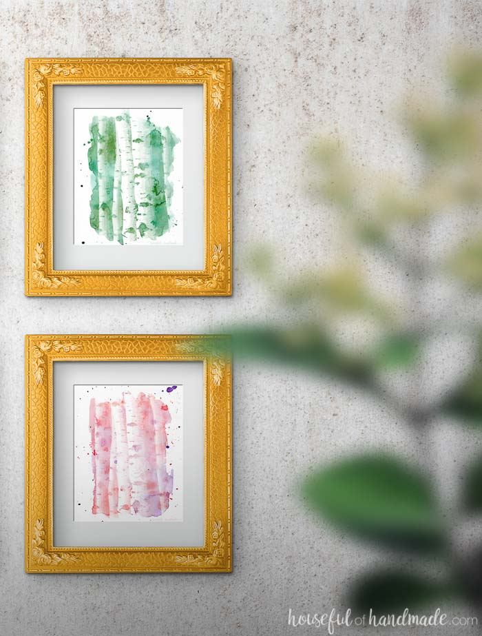 Decorate your walls with these beautiful watercolor aspen tree art prints. These free printables are the perfect way to add art to your home on a budget. Housefulofhandmade.com