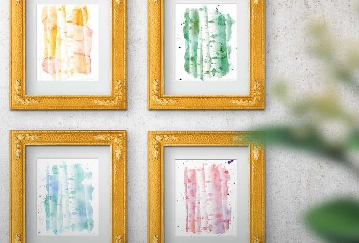 Watercolor is my favorite! This free printable aspen tree art is perfect for fall. Housefulofhandmade.com